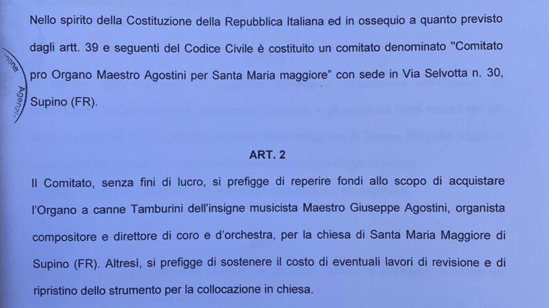"""Aiutiamo la realizzazione del Progetto """"L'organo del Maestro Giuseppe Agostini"""""""