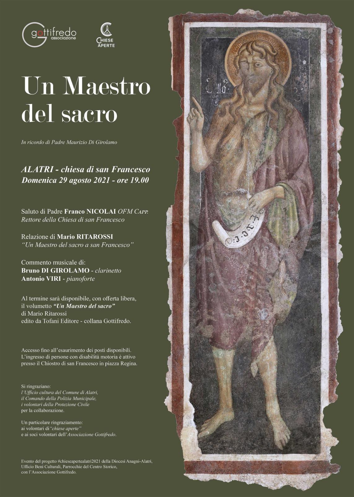 Un Maestro del Sacro. Appuntamento a San Francesco, domenica 29 agosto